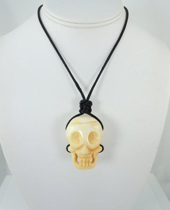 Bone Skull Pendant Necklace Ox Bone Genuine Bone Carved Etsy