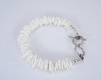 White Rose Clam Shell Bracelet, Sea Shell Bracelet, Shell Bracelet, Beach Bracelet, Sterling beads, Sterling Adjustable Toggle Clasp