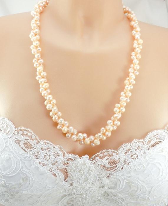 Torsade Necklace: Bridal Torsade Necklace Genuine Fresh Water Pearls Soft