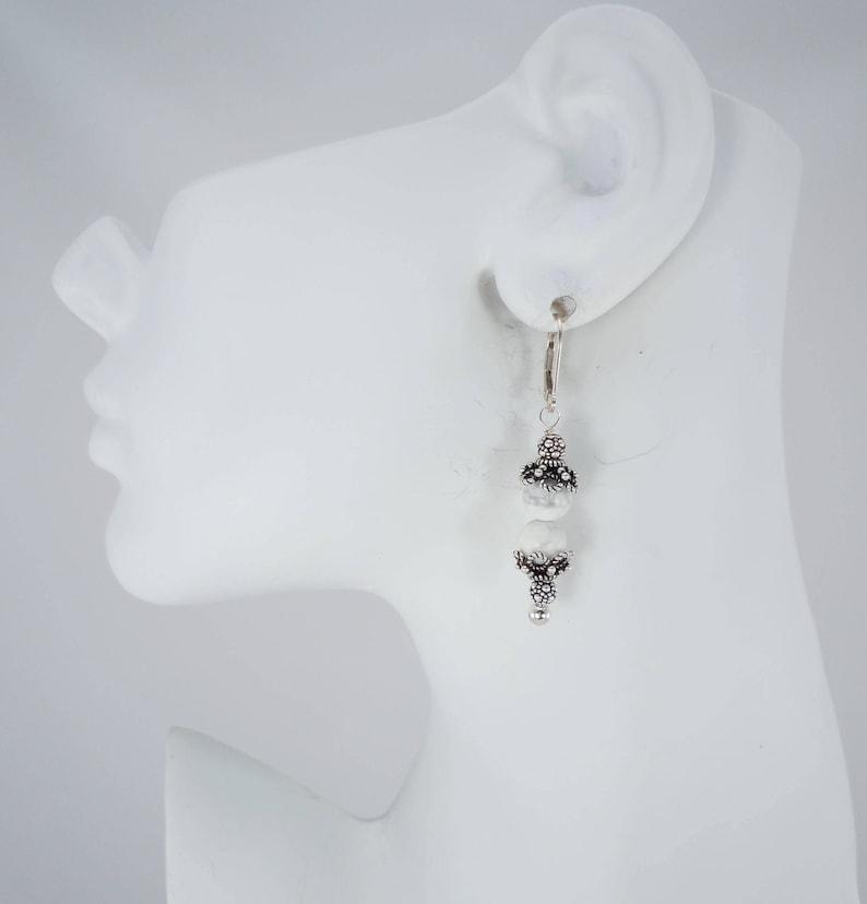 c0b1e65ad Howlite Bead Earrings Drop Earrings Bead Earrings Genuine | Etsy