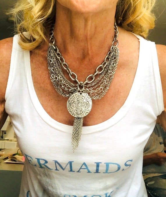 Boho Multi chained charm necklace