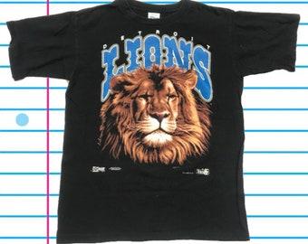 ae6eb6b24 Vintage 90s Detroit Lions Salem Sportswear 1991 NFL T Shirt. Size Large