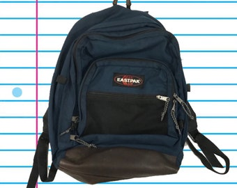 Vintage 90s Eastpak Made in USA Classic Navy Blue Bookbag. Standard Size