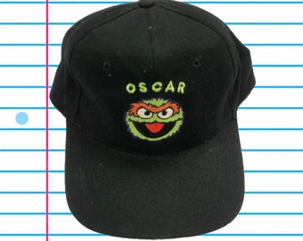 cdc5f1c634e Vintage 90s Oscar the Grouch Sesame Street Black Snapback Hat