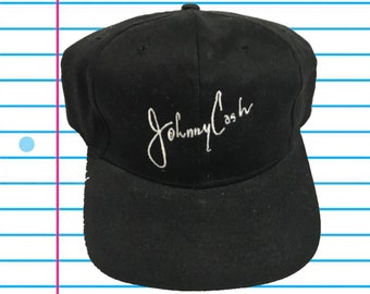 Vintage 90s Johnny Cash Autograph Classic Black Snapback Hat 8da72355d6fe