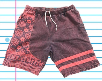 26a9d9897b Vintage 90s The Chain Reaction Surfer Style Floral Red/Pink Acid Washed  Shorts. Size 38