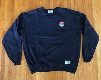 Vintage 90s NHLPA Be a Player Roots Navy Crewneck Sweatshirt. Size Large