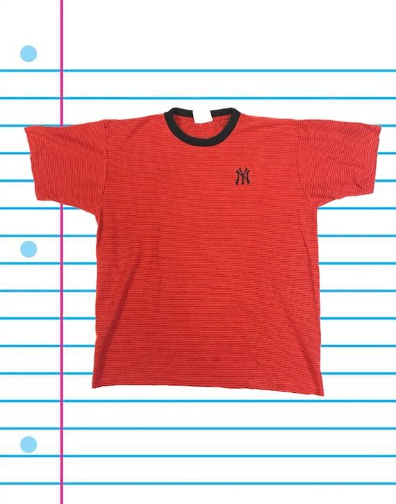 Vintage 90s New York Yankees Orange Lee Sport Striped T Shirt.  47a8b0e3974