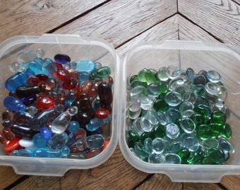 Two boxes of glass beads for craftwork