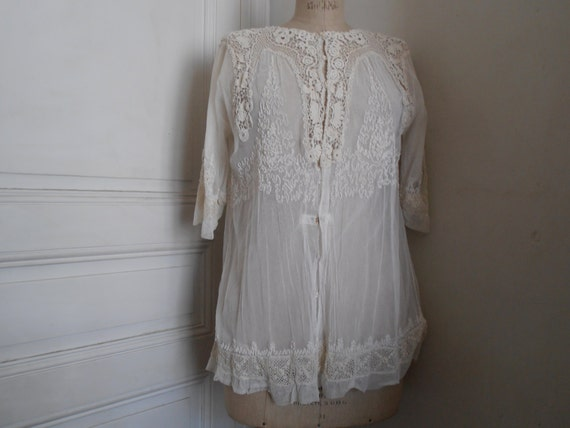 Gorgeous French vintage lace bed jacket
