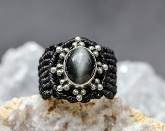 ELEGANT Macrame Ring with Clear Gray Cat's Eye and Sterling Silver Design, Bridal Jewelry, Statement Macrame, Macrame Silver, Silver Ring