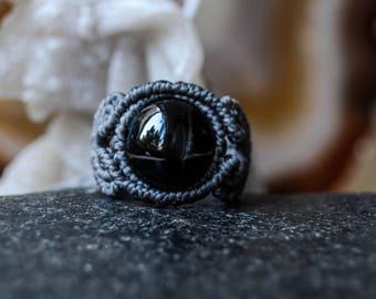 MACRAME RING with Black Star Diopside, Bridal jewelry, Women jewelry, Bohemian jewelry, Bohochic, Engagement ring, Macrame jewelry, Healing