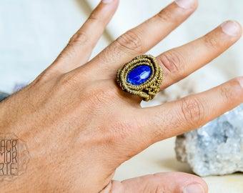 Charm Macrame Ring with Lapis Lazuli Gemstone, Healing Stones, Modern Macrame, Micromacrame Ring, Birthstone Jewelry, Gipsy, BOHO, Coachella