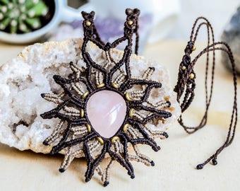 Rose Quartz Macrame Necklace.Statement Necklace.Boho Chic.Festival.Gipsy Jewelry. Sexy. Wedding Gift. Woman. Healing Crystals. Mandala
