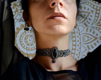 Macrame Choker Necklace Iolite Sunstone Christmas gift For her Healing Jewelry Holistic Gem Bohemian necklace Boho Micromacrame Spiritual