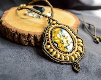 STATEMENT Macrame necklace, Ocean Jasper, Tribal, Protective, Healing Gemstones, Bohemian Jewelry, Gipsy, Boho, Hippy, Tribal, Handmade