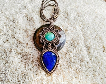 MACRAME PENDANT Lapis and Turquoise, Tribal style, Boho Jewelry, Bohemian, Healing crystals, Handmade jewelry, Ethnic, Festival jewelry