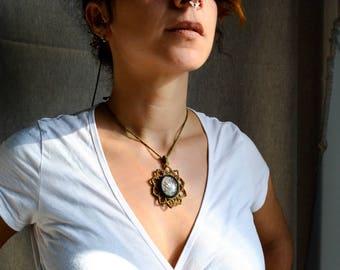 Macrame Pendant Tourmaline Quartz Christmas gift For her Healing Jewelry Holistic Gem Bohemian necklace Boho Micromacrame Spiritual Mandala