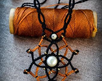 White Pearl Macramé Mandala.Boho Chic. Gipsy. Sexy Jewelry. Wedding. Woman Gift. Festival Jewelry.Trending.Healing Crystals.3rd Eye Chakra.
