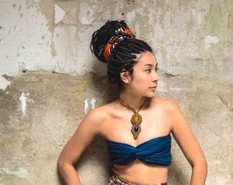 MACRAME Necklace with Lapis Lazuli and Tiger Eye, Bridal Jewelry, Gipsy, Bohemian, Hippie Chic, Healing Crystal, Tribal, Handmade, Vegan