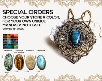 Macrame Mandala M1, Custom Necklace, Healing Stones, Modern Macrame, Birthstone Jewelry, Bohemian, Gift For Her, Pattern Jewelry