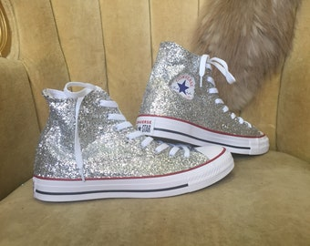 edd4f17b8982d0 Authentic converse all stars in silver glitter. Custom made to order in any  color high top or low top chucks.