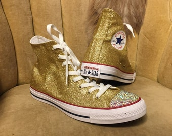 c95d2d7ed14a Authentic converse all stars in gold glitter. Custom made to order in any  color high top or low top chucks.