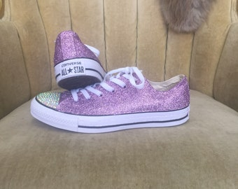 Authentic converse all stars in lavender glitter. Custom made to order in  any color 0e335eafd7
