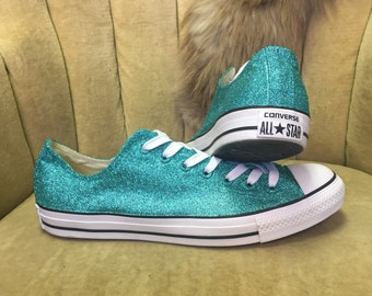 ec592079c53b Authentic converse all stars in teal glitter. Custom made to order in any  color