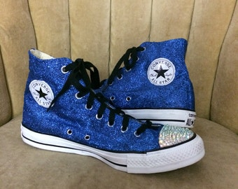 21a929284afc Authentic converse all stars in blue glitter. Custom made to order in any  color high top or low top chucks.