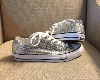 7a28eb3236c Authentic converse all stars in silver glitter. Custom made to order in any  color