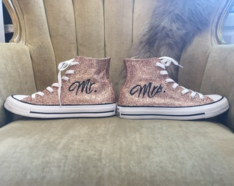 796a6ab10d1 Authentic converse all stars in rose gold glitter. Custom made with Mr. and  Mrs.