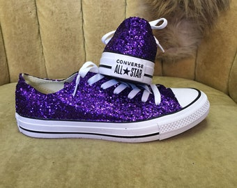 eb24660e1dd Authentic converse all stars in purple glitter. Custom made to order in any  color