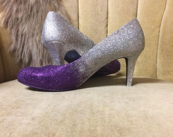 889cab688dba Glitter high heels. Ombre purple and silver.