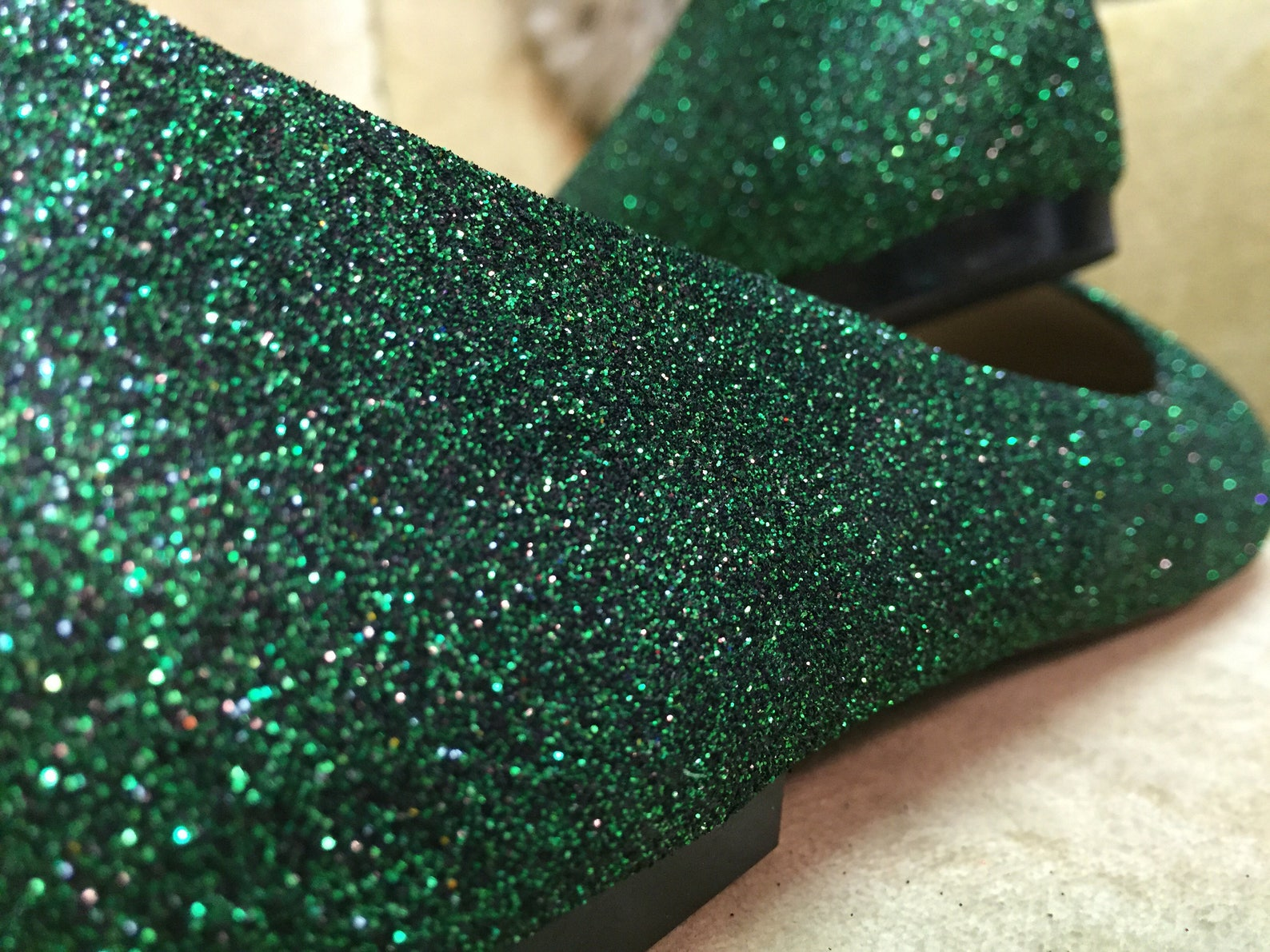 women's custom made to order green glitter ballet flats. glitter flats. slip on shoes