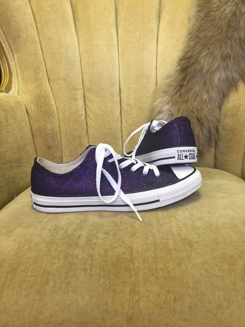 3ae6dbab8a1 Authentic converse all stars in dark purple glitter. Custom