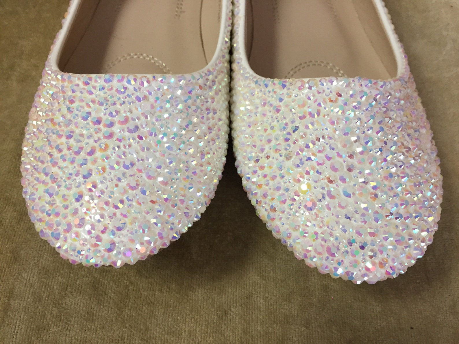 white ab crystal bridal high flats. custom made. strassed ballet flats