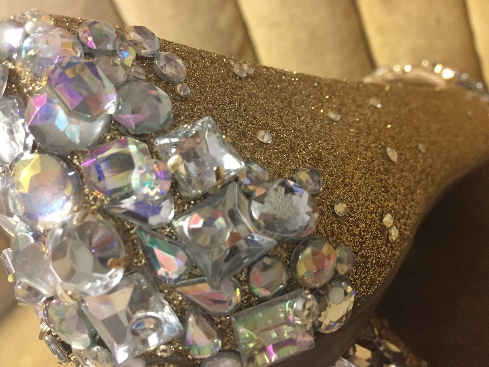 custom made to order, crystal ballet flats with gold glitter base. wedding flats brides maids flats.