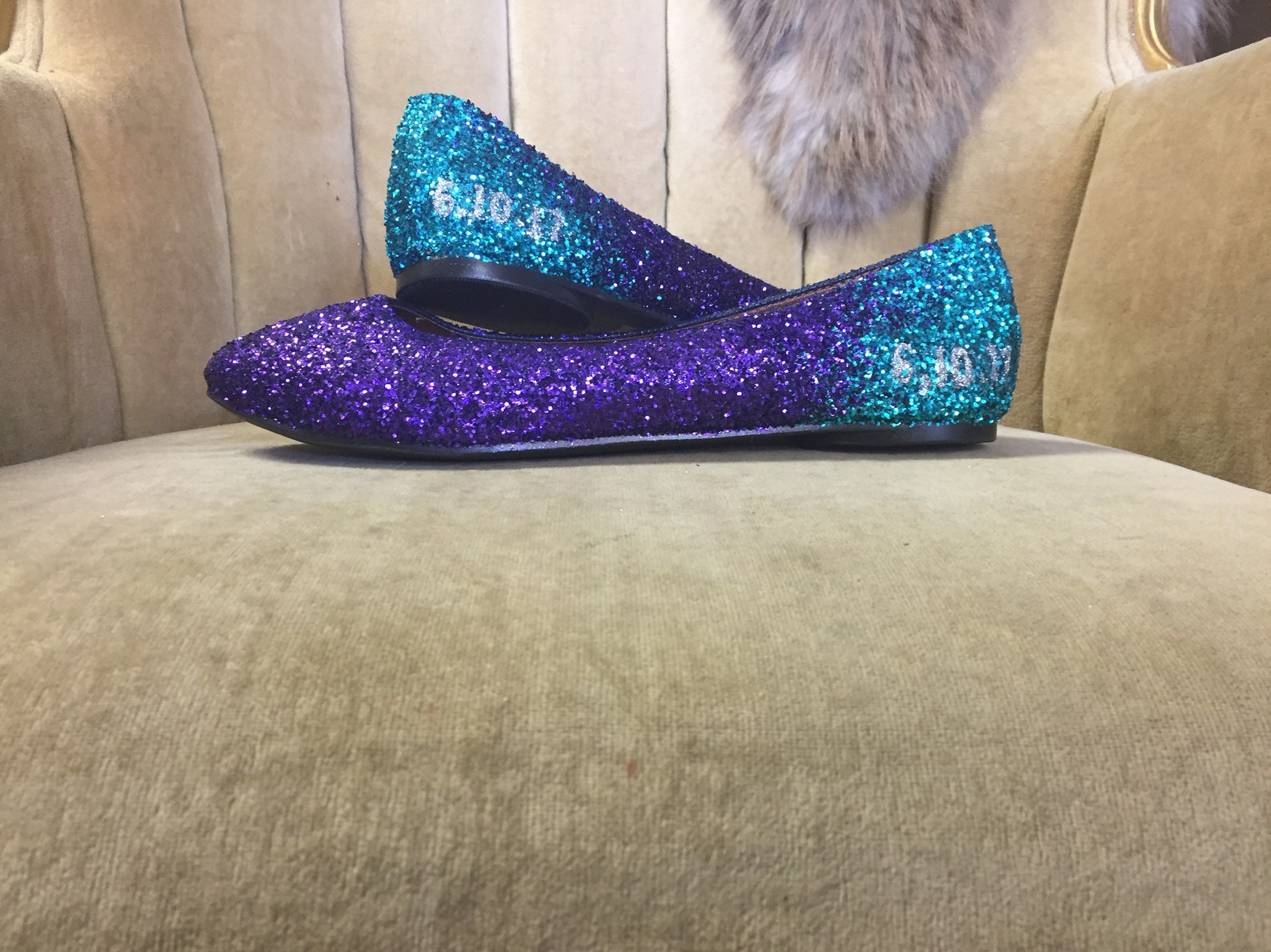 personalized ombre ballet flats. teal to purple ombre.