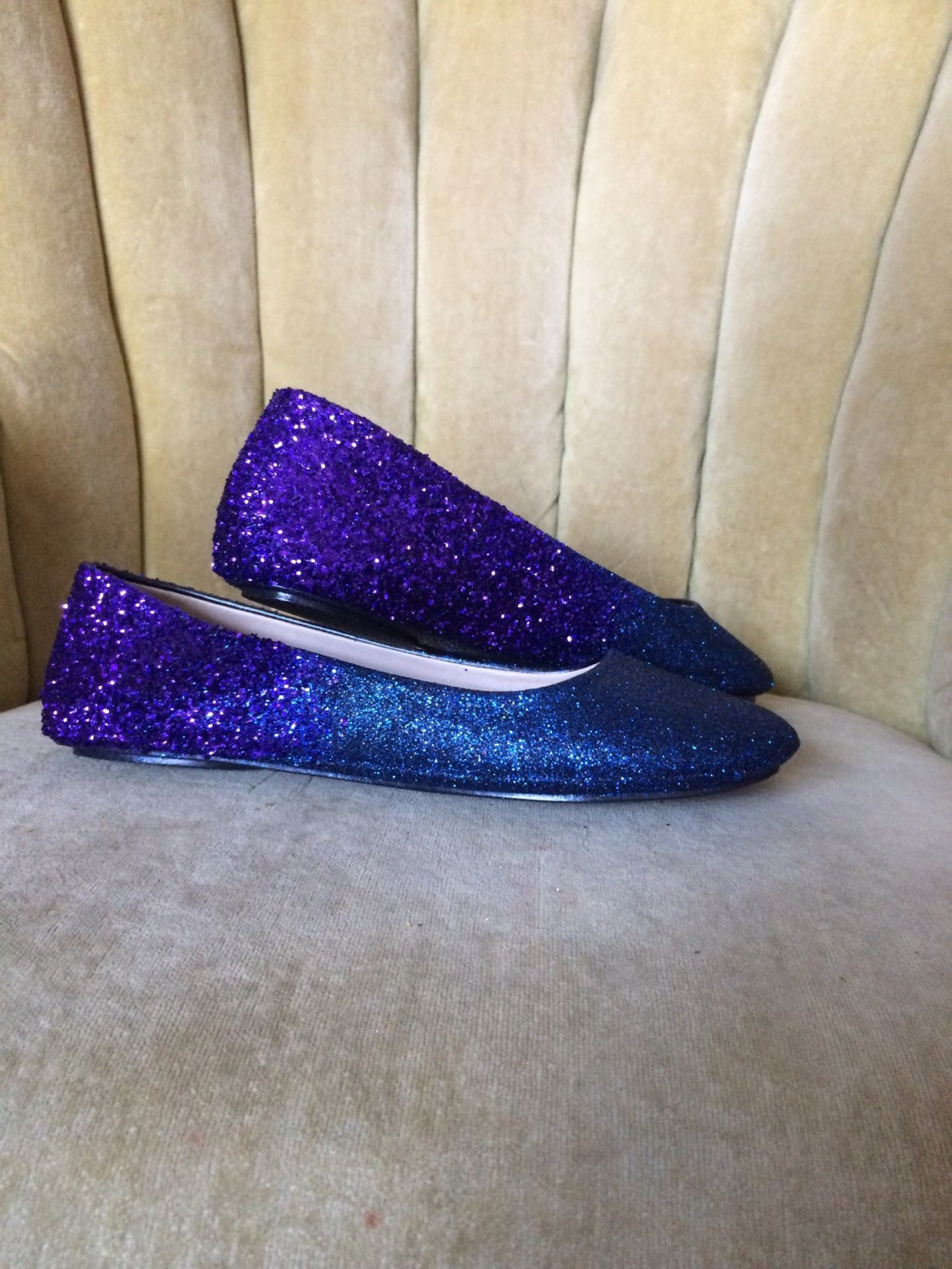 woman's custom made to order ballet flats. glitter flats. slip on shoes. navy blue, royal purple ombre design.