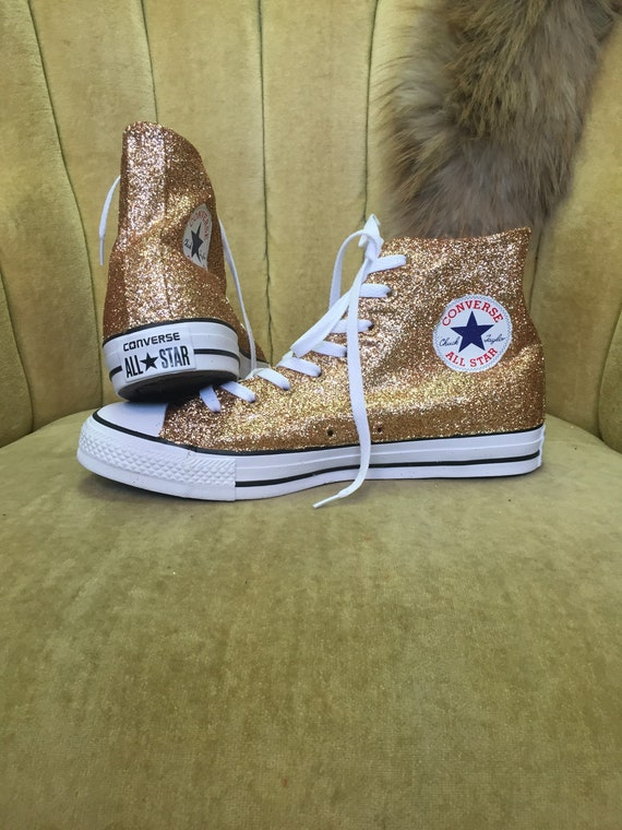 Authentic converse all stars in rose gold glitter. Custom made to order in any color high top or low top chucks.