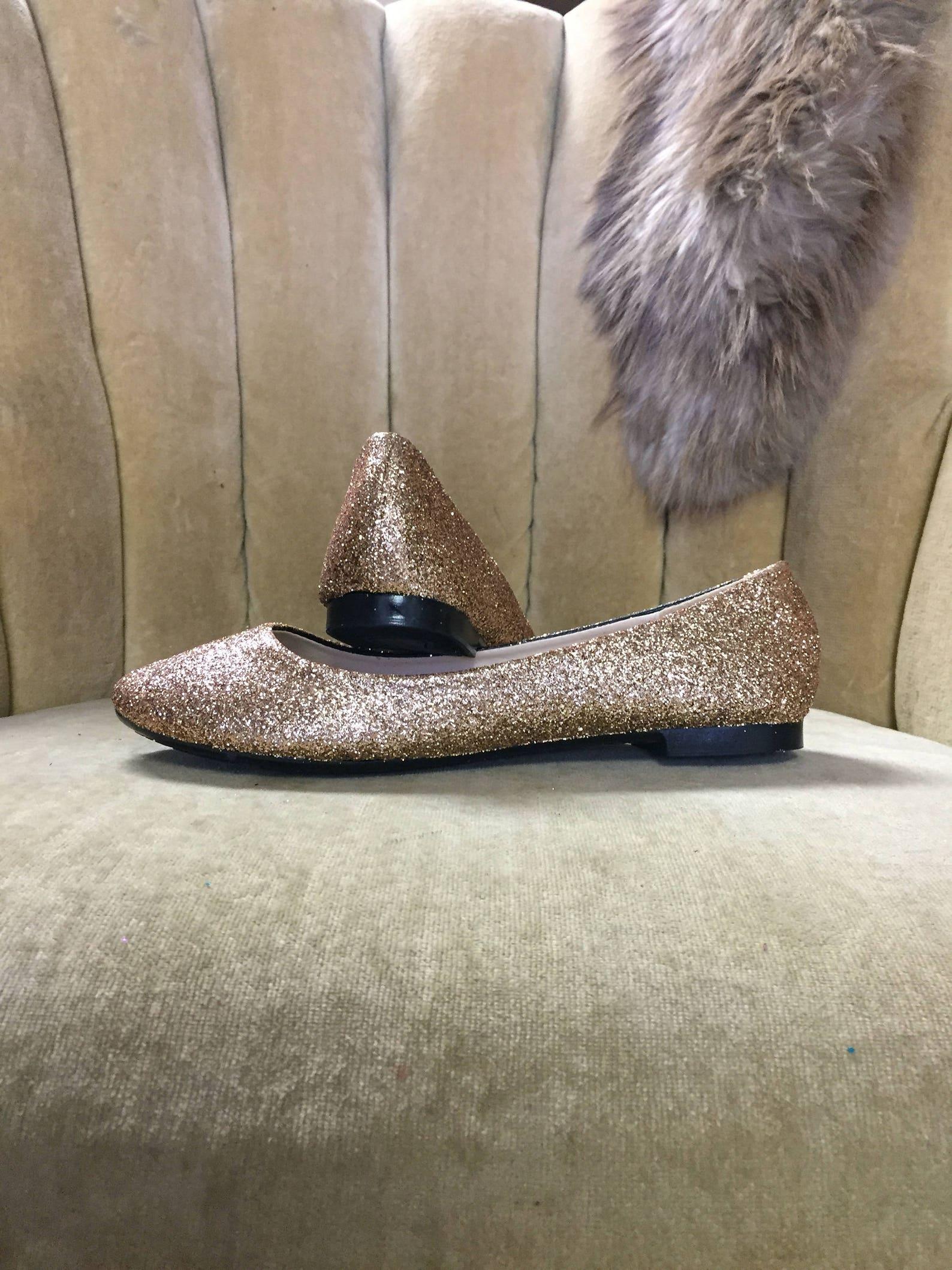 women's custom made to order rose gold glitter ballet flats. glitter flats. slip on shoes
