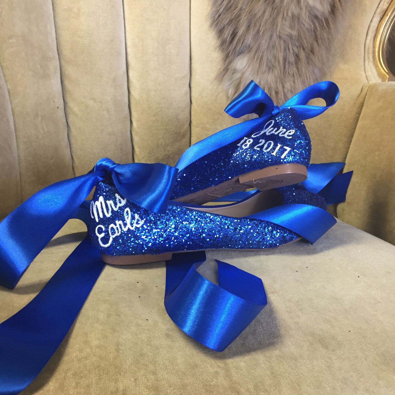 personalized, blue glitter lace up ballet flats with name and wedding date. custom made to order. women's us sizes 5-12