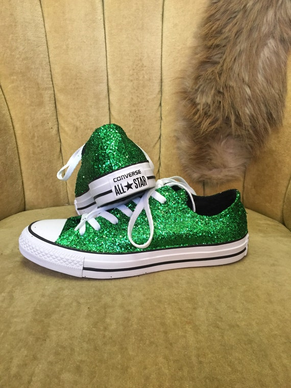 Authentic converse all stars in green glitter. Custom made to order in any color