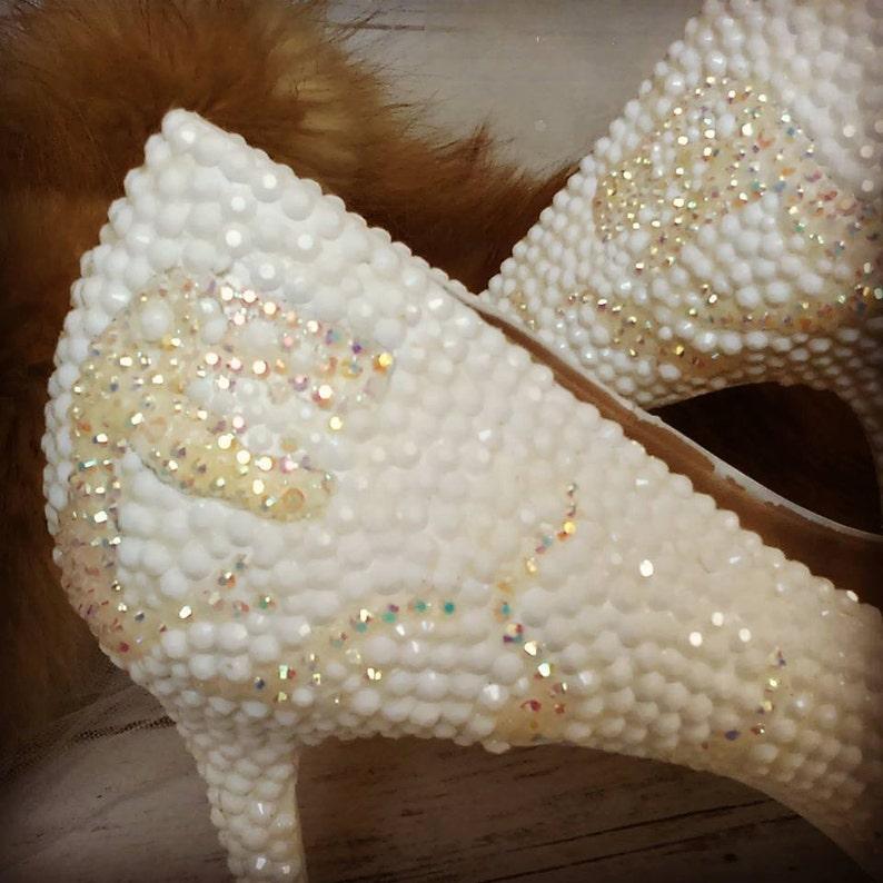 white dino pumps White crystal dinosaur high heels custom made to order Bridal shoes Short heels Tall heels Sizes 5.5-11