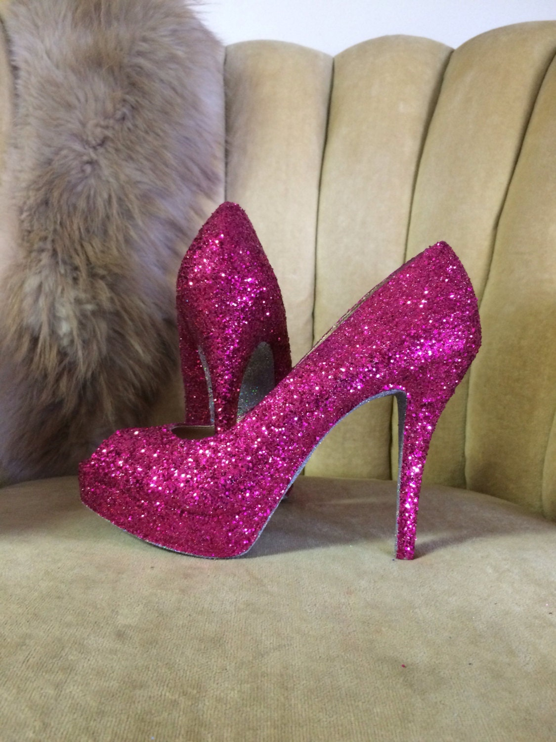 b114babdf56 Custom made to order, open toe Glitter high heels. Hot pink glitter pumps.  Bridal shoes. Sizes 5.5-11