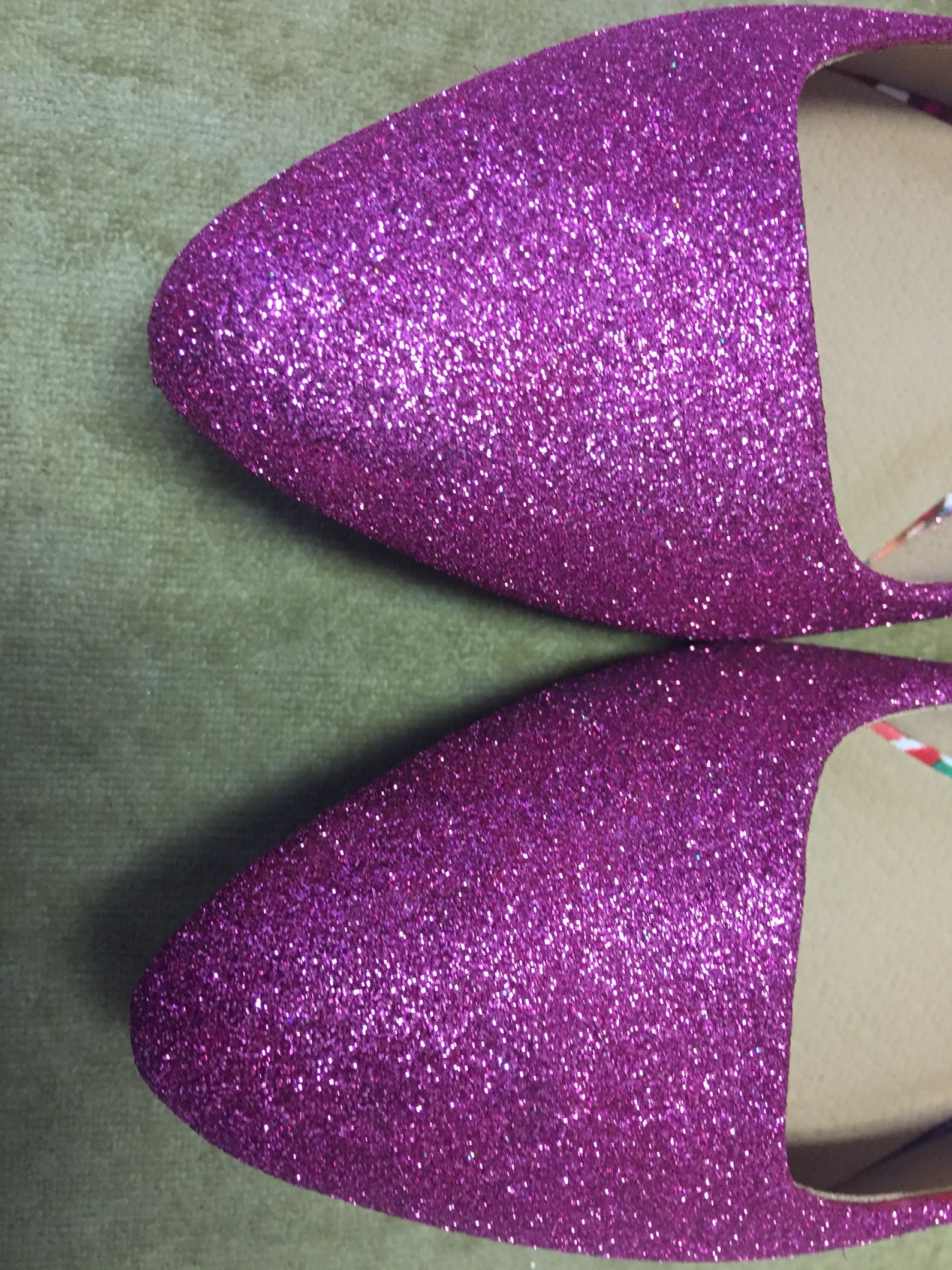 women's custom made to order pink glitter ballet flats. pointed toe ballet flats. glitter flats. slip on shoes.