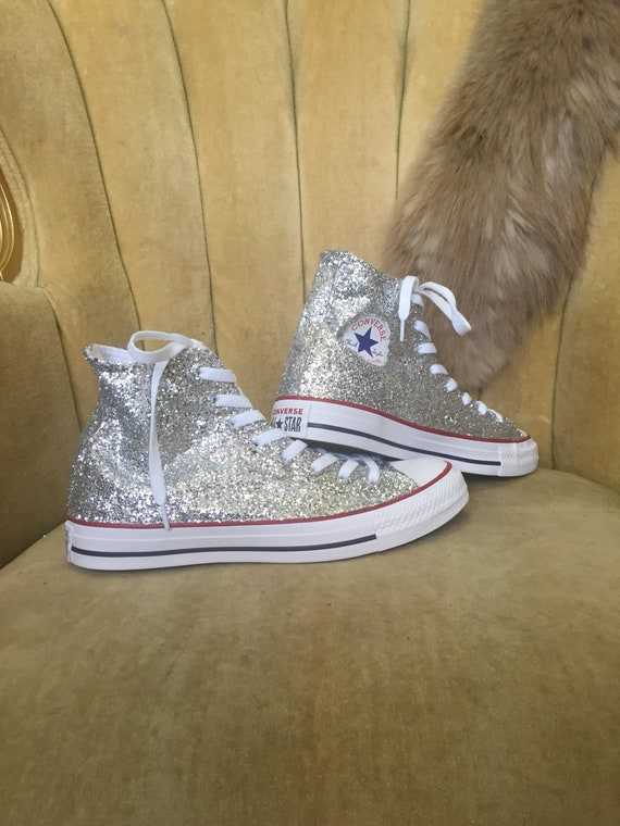 Authentic converse all stars in silver glitter. Custom made to order in any color high top or low top chucks.