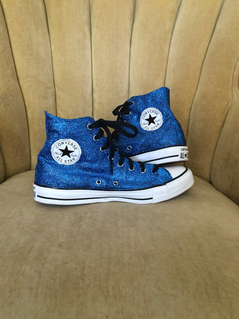 00fce31244d2 Authentic converse all stars in blue glitter. Custom made to