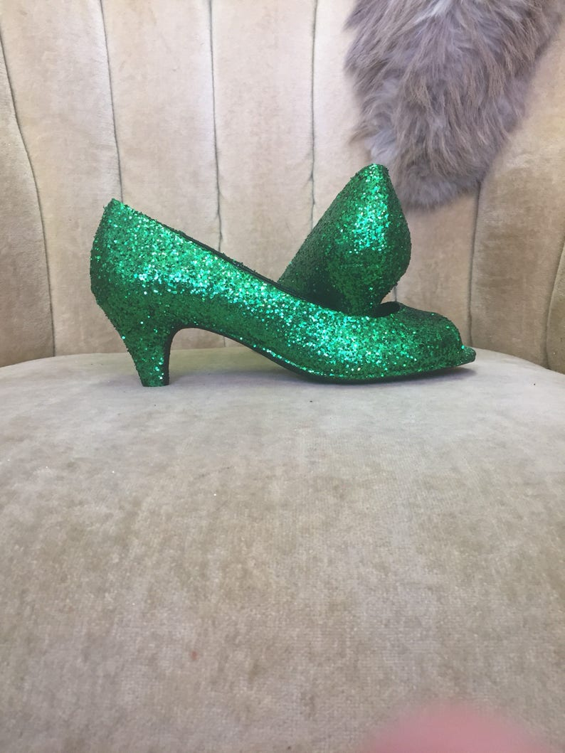 a83a479f6ffd Custom made to order. Glitter high heels. Green glitter heels. | Etsy